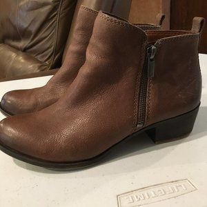 Lucky Brand Basel Brown Leather Booties size 8